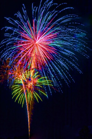 A colorful fireworks display, vertical with black background and copy space