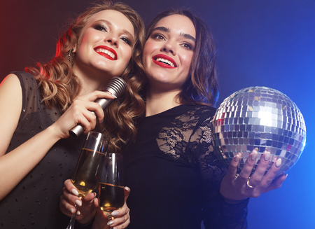 Photo for lifestyle and people concept: two beautiful   women with wine gl - Royalty Free Image