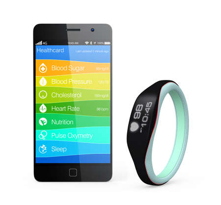 Foto per Health and fitness information synchronize from smart wristband - Immagine Royalty Free