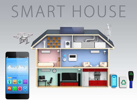 Foto de Smartphone app and energy efficient house for smart house concept - Imagen libre de derechos