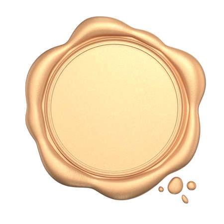 Foto de Golden wax seal with blank space isolated on white background - Imagen libre de derechos