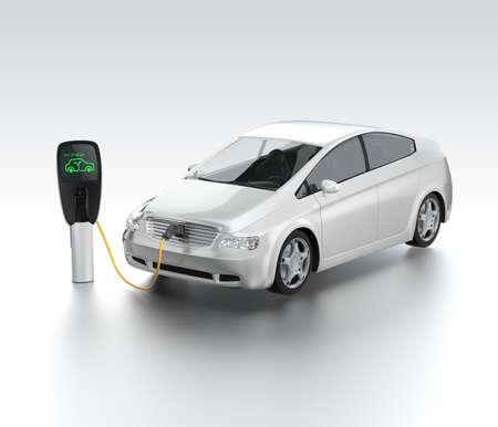 Foto de Electric car at charging station  Zero emission concept - Imagen libre de derechos