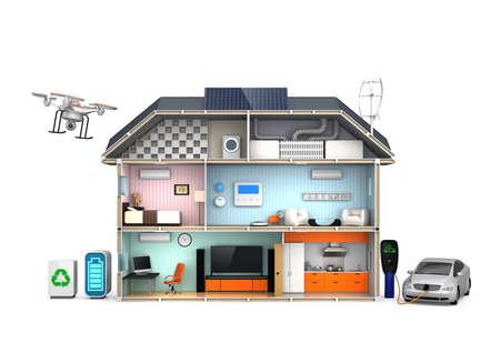 Photo pour Energy efficient Home concept isolated on white background - image libre de droit