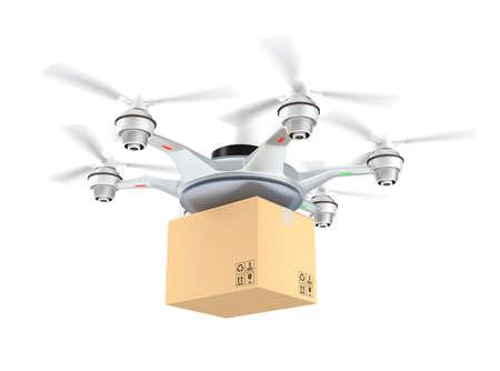 Foto de Drone delivery cardboard package on white background - Imagen libre de derechos