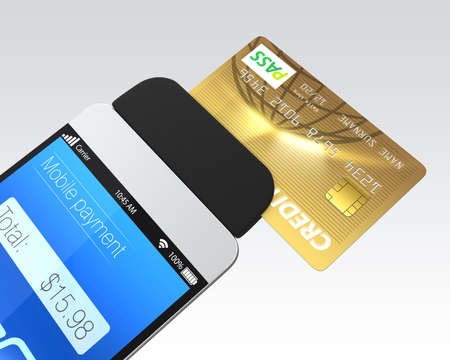 Photo pour Credit card swiping through a mobile payment attachment for smartphone - image libre de droit