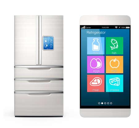Photo pour Smart refrigerator monitoring by smart phone concept - image libre de droit
