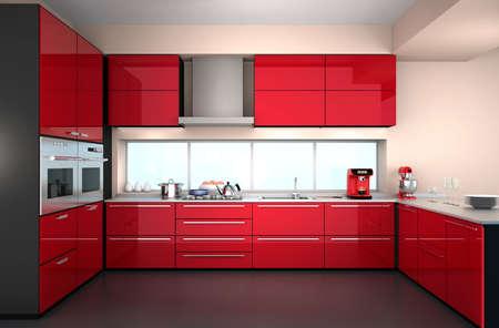 Modern kitchen interior with stylish coffee maker, food mixer.
