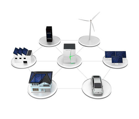 Photo pour Illustration of stationary battery system. The battery unit can storage electric power from wind and solar generator. Charging for EV or household usage. - image libre de droit