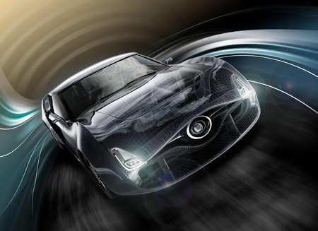 Photo pour Front view of black sports car. Wire frame texture combined. 3D rendering image in original design. - image libre de droit