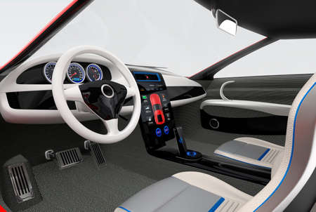 Photo pour Futuristic electric vehicle dashboard and interior design. 3D rendering image with clipping path. - image libre de droit
