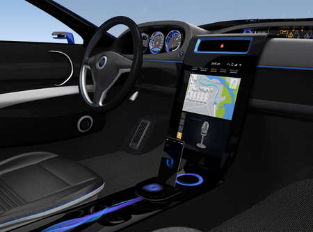 Photo pour Eelectric car console UI design with map navigation screen. - image libre de droit