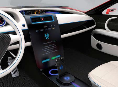 Photo pour Update vehicle software just touch car's center console screen. Concept for new software solution for automobile. Original design. - image libre de droit