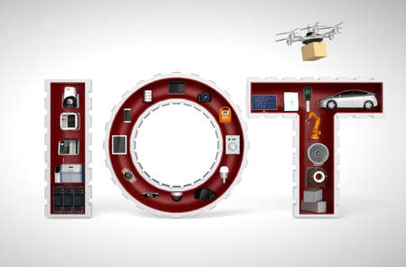 Photo pour Smart appliances in word IoT. Internet of Things in industrial products concept. - image libre de droit