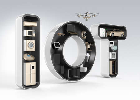 Foto de Smart appliance in word IOT. Internet of Things in consumer products concept. - Imagen libre de derechos