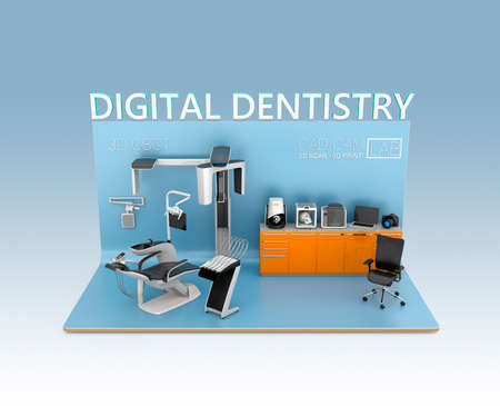 Foto de Digital dentistry concept. Input patient facial data by dental CT, then send to chair side comment. Tooth impression could be scan by CT or 3D scanner, print by 3D printer. Original design. - Imagen libre de derechos