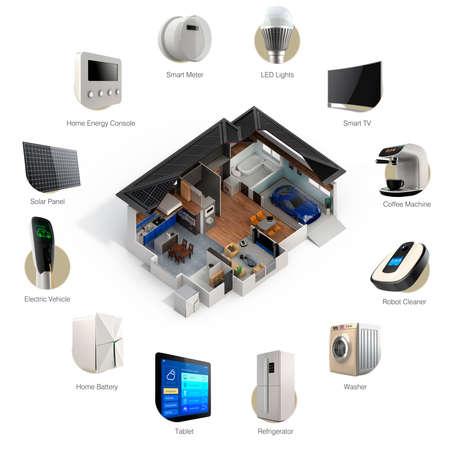 Foto de 3D infographics of smart home automation technology. Smart appliances thumbnail image  and text available. - Imagen libre de derechos