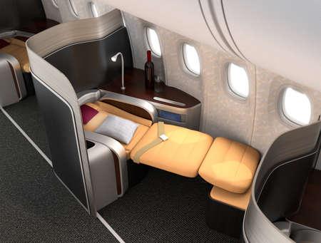 Photo pour Close-up of luxurious business class seat with metallic silver partition. 3D rendering image in original design. - image libre de droit