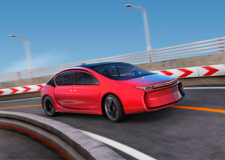 Foto per Red electric car on highway with motion blur background. 3D rendering image. - Immagine Royalty Free