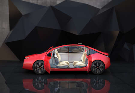 Photo for Side view of red autonomous car in front of geometric object background - Royalty Free Image