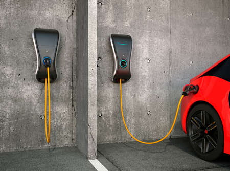 Photo pour Electric vehicle charging station for home. - image libre de droit