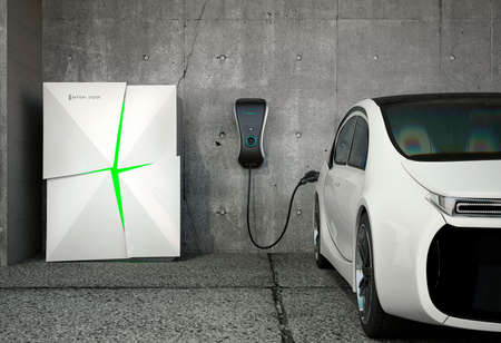 Foto per Electric vehicle charging station for home. Powered by battery system. - Immagine Royalty Free