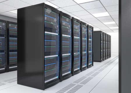 Foto de Rows of blade server system on white background. 3D rendering image. - Imagen libre de derechos