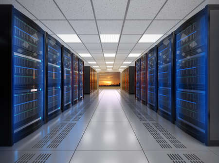Photo pour Modern server room interior. 3D rendering image. - image libre de droit