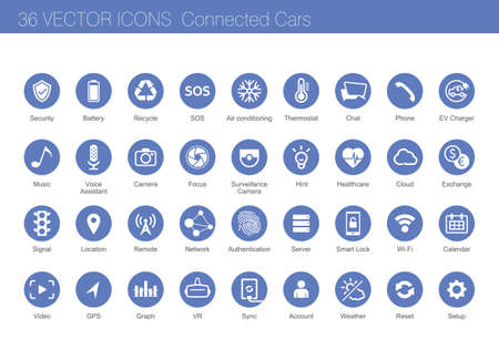 Ilustración de Icon set of connected cars concept - Imagen libre de derechos