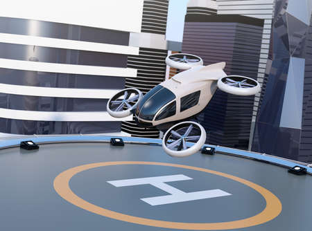 Foto de White self-driving passenger drone takeoff and landing on the helipad. 3D rendering image. - Imagen libre de derechos