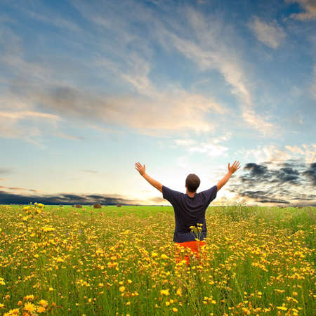 Photo for man in field with yellow flowers under sunset - Royalty Free Image