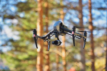Foto de Flying drone on natural background - Imagen libre de derechos