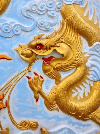Ancient golden Chinese Drago mural