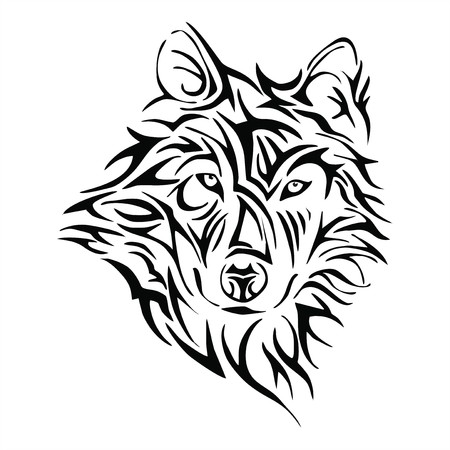 Illustration pour Wolf head tattoo tribe vector - image libre de droit