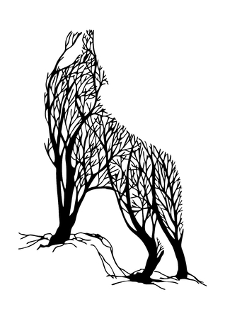 Illustrazione per Mysterious aggressive Wolf howl silhouette double exposure blend tree drawing tattoo vector - Immagini Royalty Free