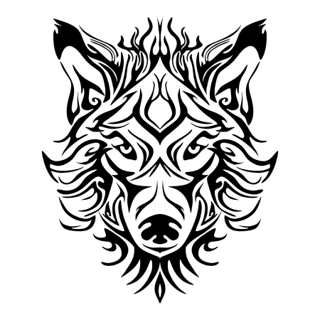 Illustration for Wolf face head or wolf face design for tribal tattoo style vector with white background - Royalty Free Image