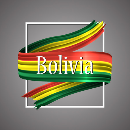 Illustration pour Bolivia flag official national colors. Bolivian 3d realistic ribbon, waving vector patriotic glory flag stripe sign vector illustration background. Icon design frame for banner, poster or print. - image libre de droit