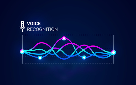 Ilustración de Personal assistant. Voice recognition. Smart sound technologies. Microphone  with voice and sound. Vector background. Intelligent music waves recognition technology. - Imagen libre de derechos