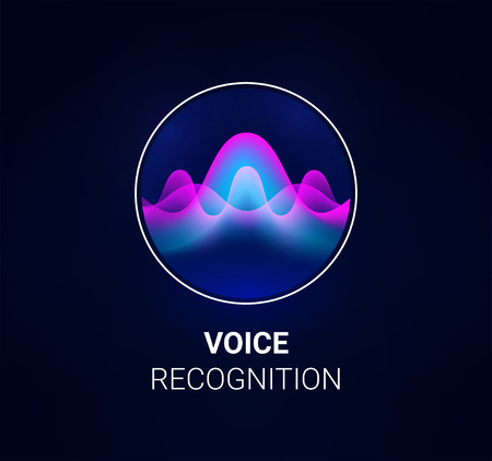 Ilustración de Personal assistant voice recognition concept. Artificial intelligence technologies. Sound wave logo concept for voice recognition application, website background or home smart system assistant. Vector - Imagen libre de derechos
