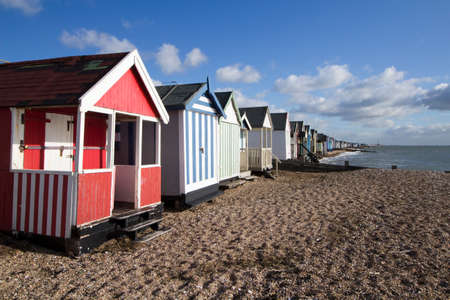 Photo for Beach huts at Thorpe Bay, near Southend-on-Sea, Essex, England - Royalty Free Image