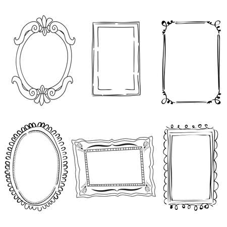 Illustration pour Set of black and white victorian frames - image libre de droit