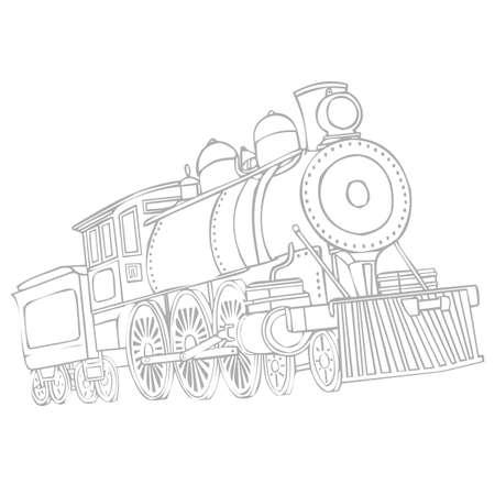 Illustration pour Image of a retro locomotive isolated on a white background - image libre de droit
