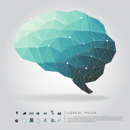 Ilustración de brain polygon with business icon  - Imagen libre de derechos