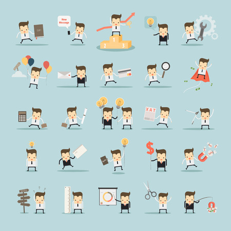 Illustration for set of businessman activities vector - Royalty Free Image