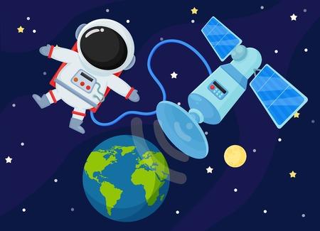 Illustration pour Space Station Send the signal back to Earth. - image libre de droit