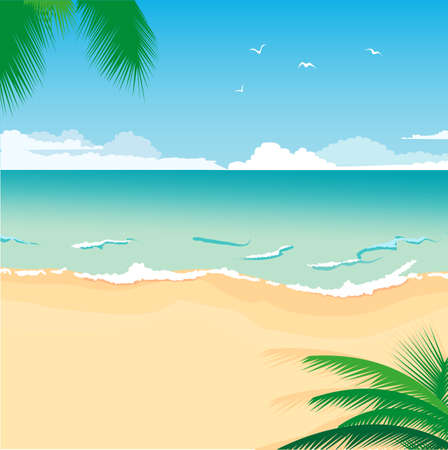 illustration of a tropical sea beach for summer design