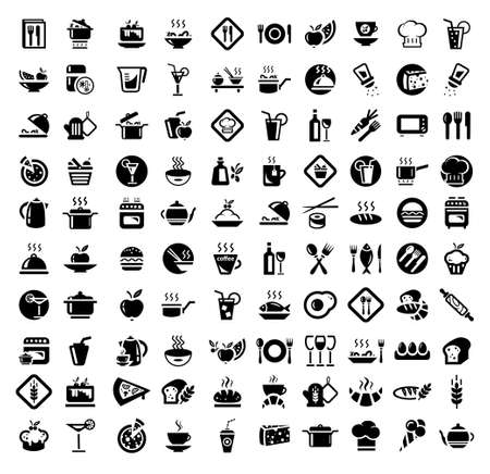 100 Food and Kitchen Icons Set for Web