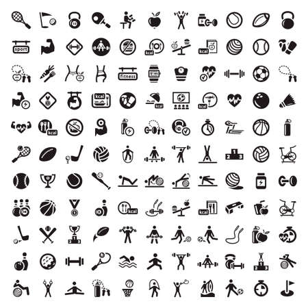 121 Fitness and Sport icons for web and mobile  All elements are grouped