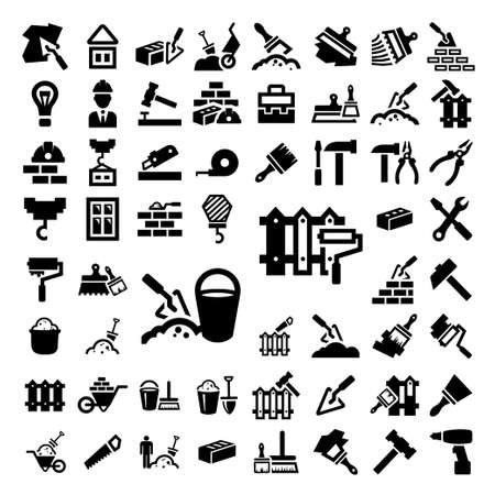 Photo pour 58 Elegant Construction And Repair Icons Set Created For Mobile, Web And Applications. - image libre de droit