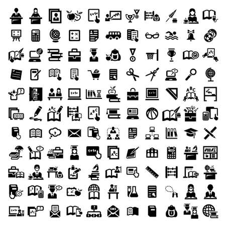Illustration for 121 Elegant Vector Education And School Icons Set  - Royalty Free Image
