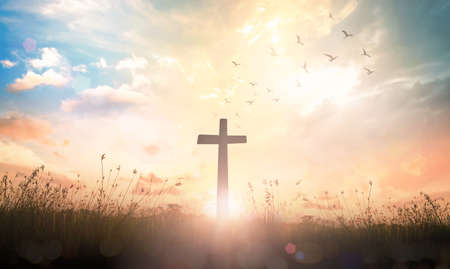 Photo for Good Friday concept: The cross on meadow sunrise background - Royalty Free Image